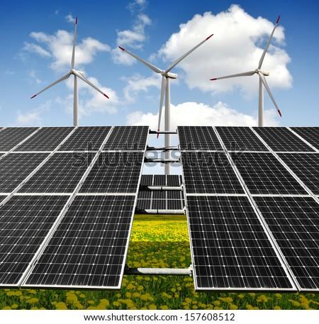 solar panels and wind turbines  - stock photo