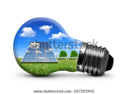 Solar panels and wind turbines in light bulb isolated on white background. Green energy concept. - stock photo