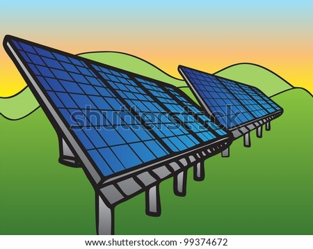 Solar Panels at Sunset Sky, hand-drawn illustration - stock photo