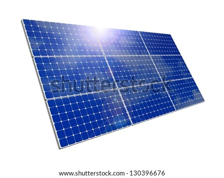 Solar panels, blue sky background. Efficient use of natural resources. Environmental pure energy. 3d rendering, illustration of isolation on skybackground - stock photo