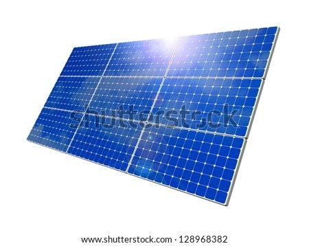 Solar panels, blue sky background. Solar panels, blue sky background. Efficient use of natural resources. Environmental pure energy. 3d rendering, illustration of isolation on a white background - stock photo