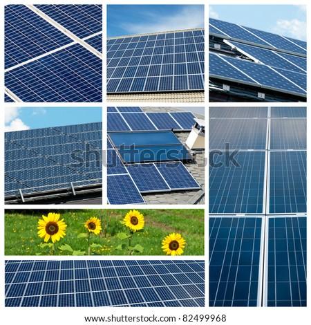 Solar panels collage - stock photo