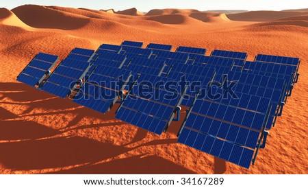 Solar Panels Desert - stock photo