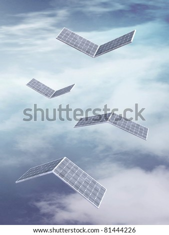 solar panels fly on sky background 3d illustration