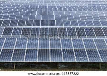 Solar panels from the solar plant in asia , make energy renewable - stock photo