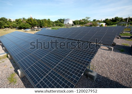 Solar panels in a row on Thailand electric plant .