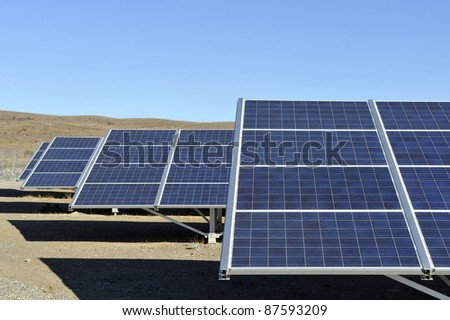 Solar panels in a very dry area