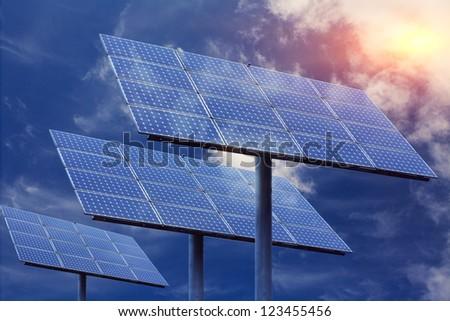 Solar panels in outdoor - stock photo