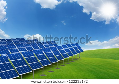 solar panels in the nature green grass field, 3D render