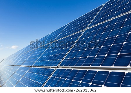 Solar panels installation, closeup - stock photo