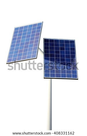 Solar panels isolated on white background - stock photo