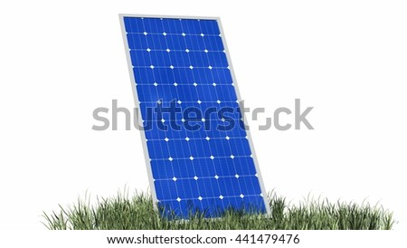 Solar panels isolated on white - 3d rendering
