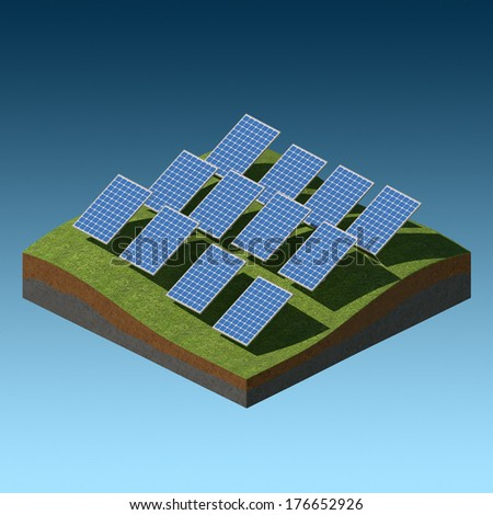Solar panels on a grass field on gradient background - stock photo