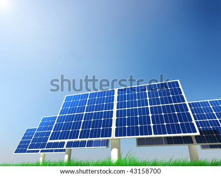 solar panels on a green grass field on a clean sky background