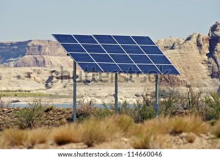 Solar Panels on Backyard. Arizona, USA. Alternative Energy Photography Collection. - stock photo