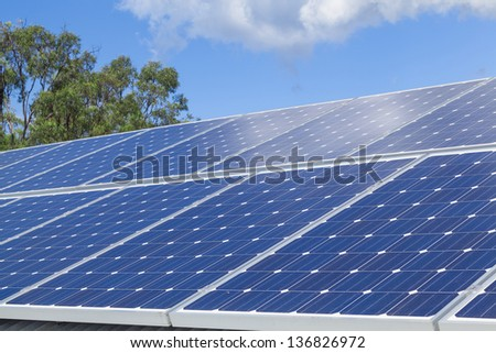 Solar panels on roof - stock photo
