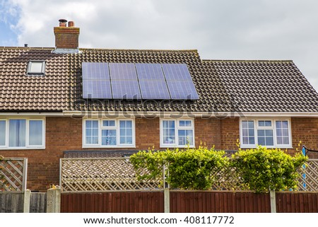 solar panels on roof, house  - stock photo