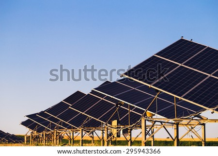 Solar panels on the background field and blue sky - stock photo