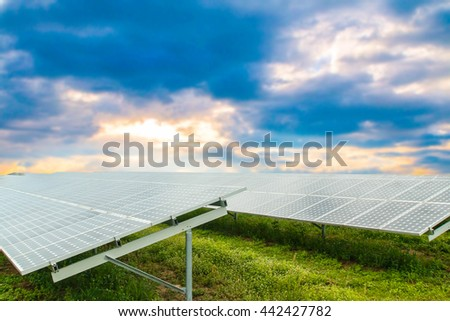 Solar panels on the background of the sky.