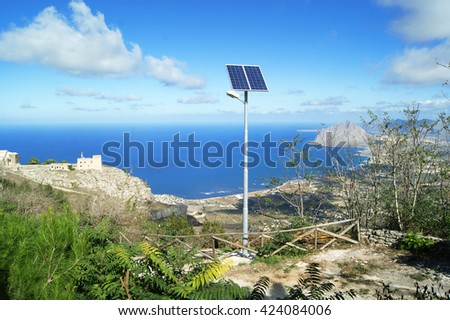 Solar panels on the mountain in Erice, Sicily. - stock photo