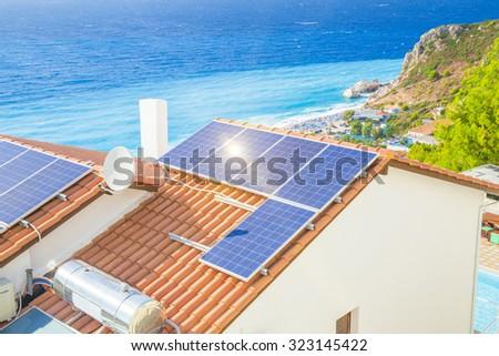 solar panels, photovoltaic, beam, sea - stock photo