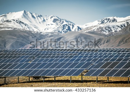 solar panels power plant - stock photo