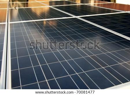 Solar panels roof - stock photo