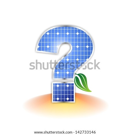solar panels texture, question mark icon or symbol - stock photo