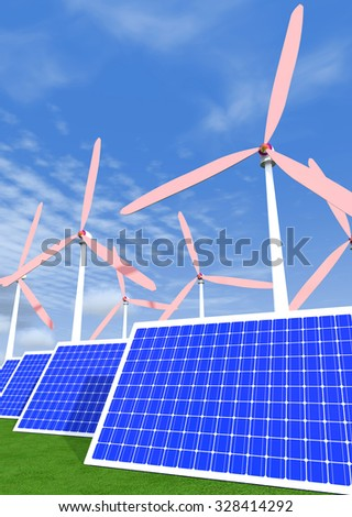 Solar panels, wind generators are on green grass and the sky with clouds as a backdrop.