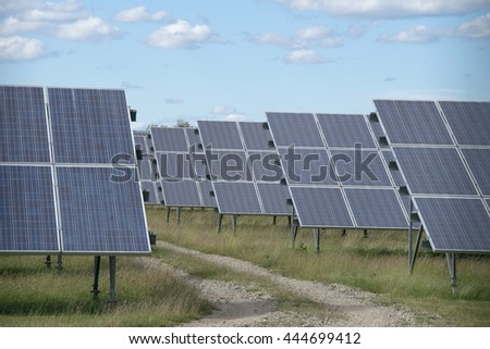 solar panels with the sunny sky