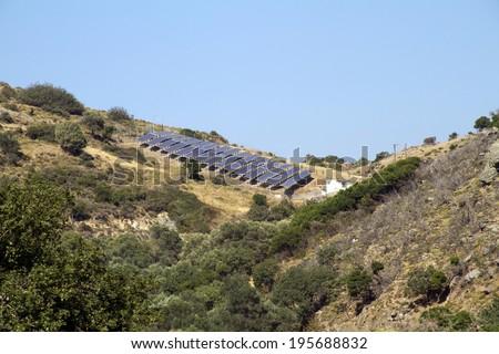 Solar pannels in mountain in greece - stock photo