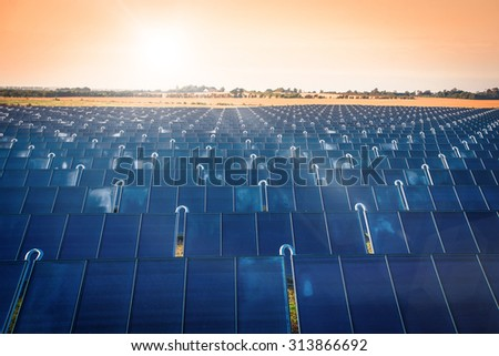 Solar park producing green energy in the sunrise - stock photo