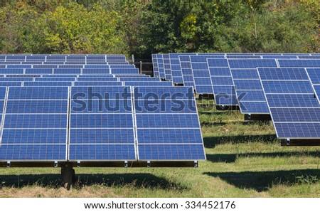 Solar photovoltaic system under harsh North Carolina sun. - stock photo