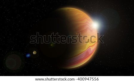 Solar planet. The photograph is prepared using Gaussian noise distribution in image processing software.