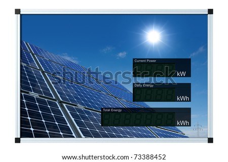 solar power display - english - LCD-digits without values, easily editable with clipping path - stock photo