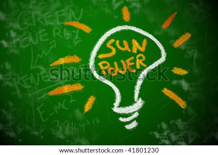 Solar power electricity. Renewable energy light bulb concept chalk drawing. - stock photo