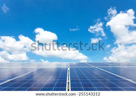 Solar power for electric renewable energy from the sun - stock photo