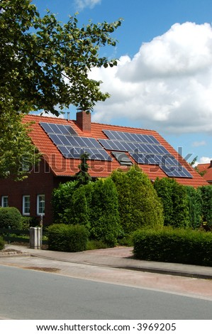 Solar power on a roof - stock photo