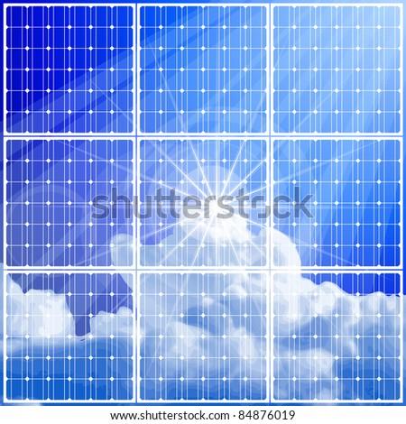 solar power panel & blue sky. Bitmap copy my vector ID 52829062 - stock photo