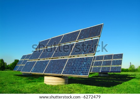 solar power plant - more images of solar cells in my portfolio - stock photo