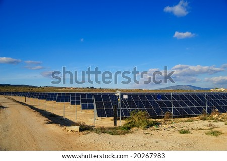 Solar power plant. Solar panels in south of Spain
