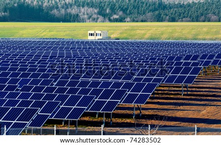 Solar power plant under construction in Germany, Saxony, near Gera. - stock photo