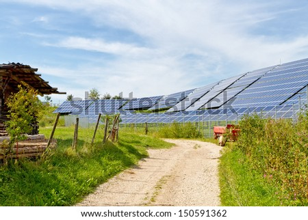Solar power station in nature - stock photo