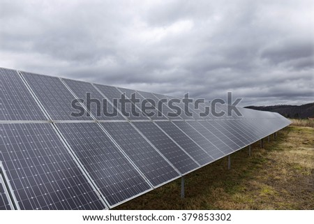 Solar Power Station in the dramatically Light - stock photo