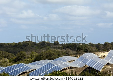 Solar power station in the fields of mallorca/spain
