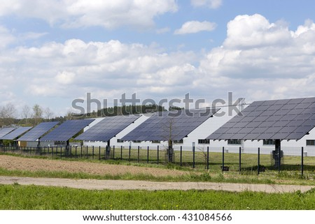 Solar Power Station in the spring Nature - stock photo