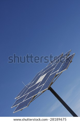 Solar Power Station with a blue sky background. - stock photo