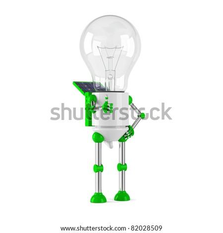 solar powered light bulb robot - thumbs up - stock photo