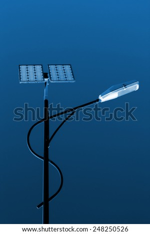 solar street lamps under the blue sky - stock photo