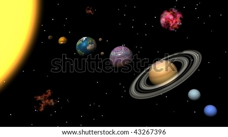 Solar system and nebulas - stock photo